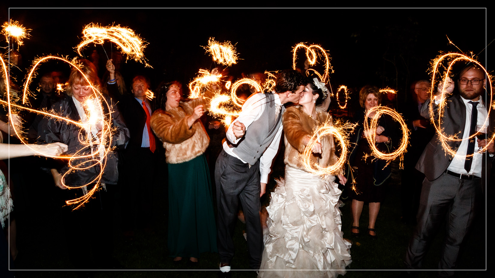 cripps barn bibury wedding reception sparklers