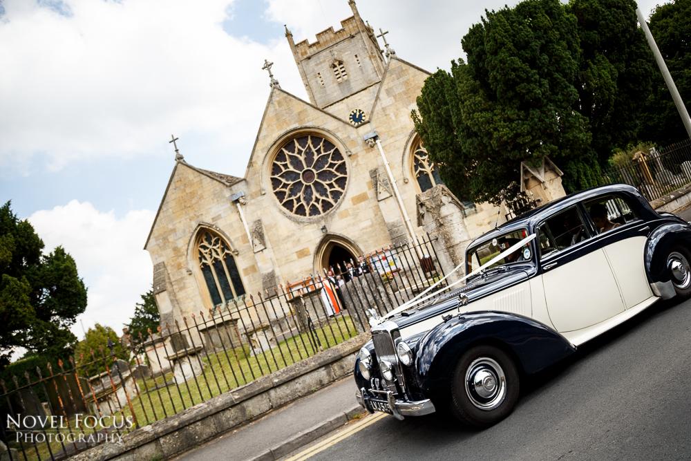wedding car at church