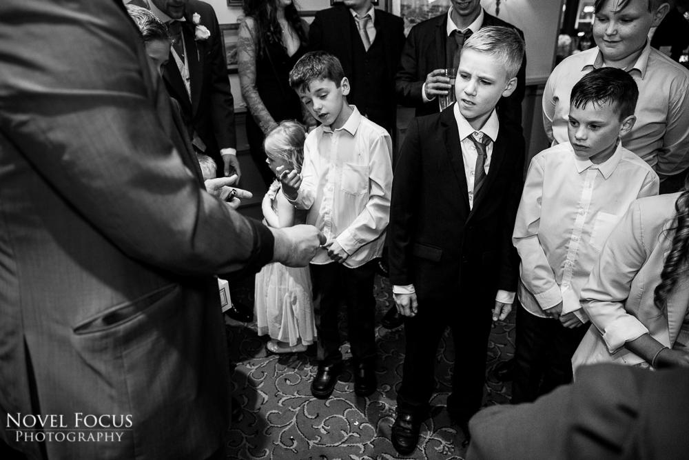 surprised children at wedding reception
