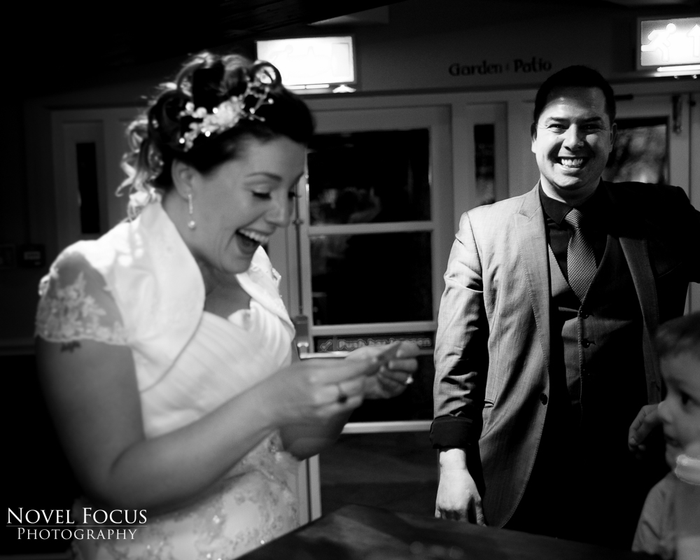magician with bride at wedding reception