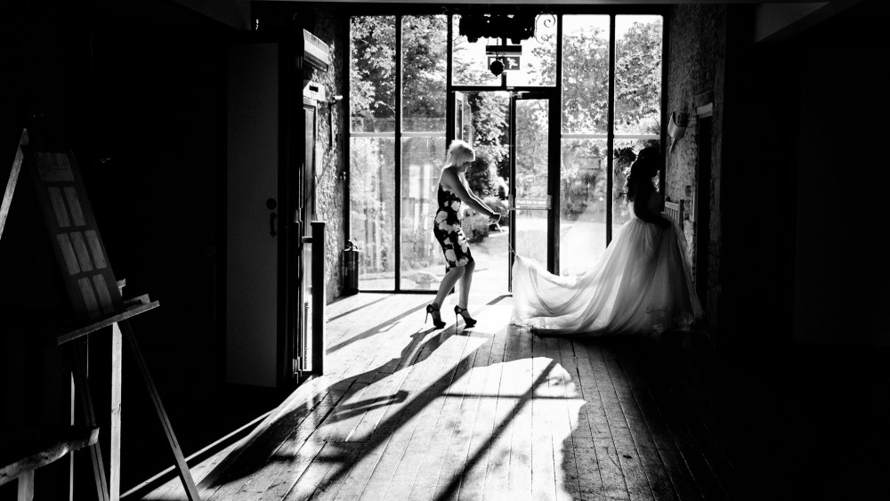 bride walking in dress
