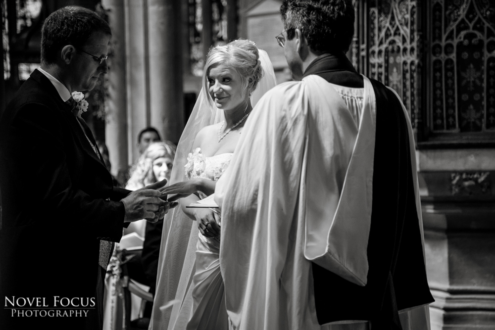 exchanging rings in wedding ceremony