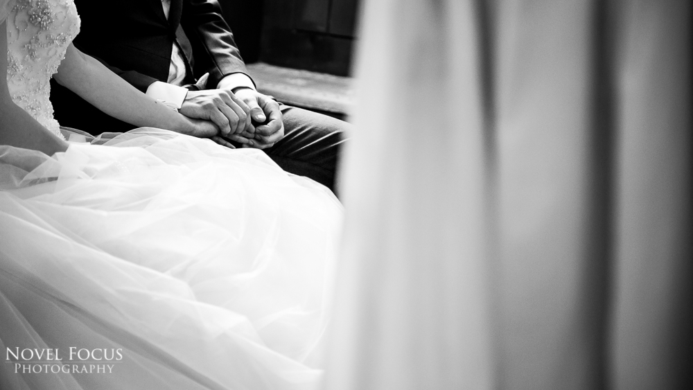 bride and groom holding hands wedding