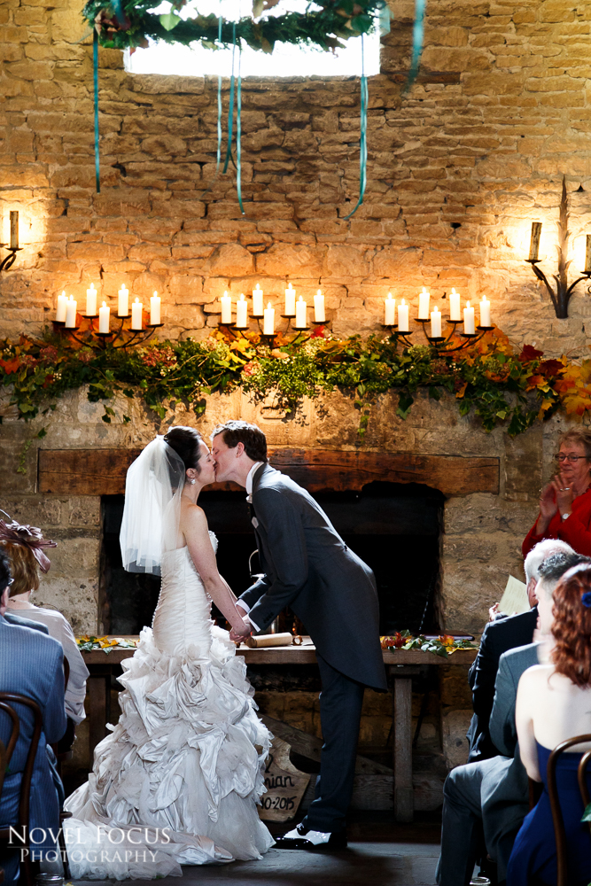 bride and groom kissing in wedding