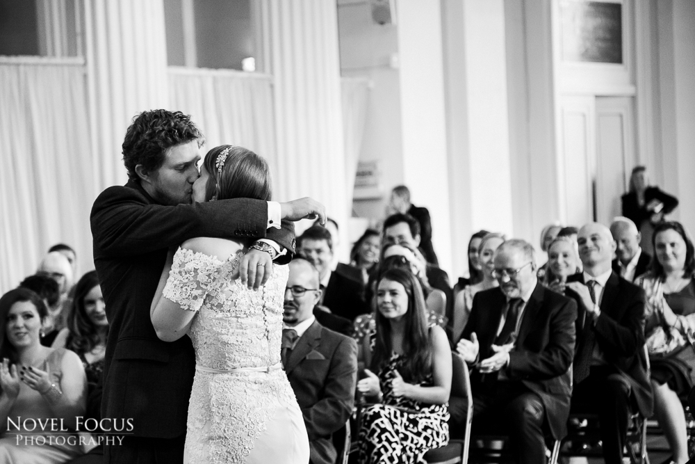 bride and groom on wedding day at pittville pump room
