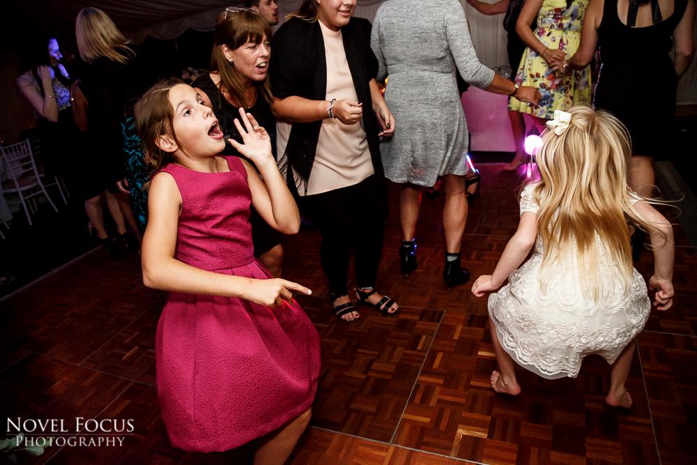 children dancing at marquee wedding