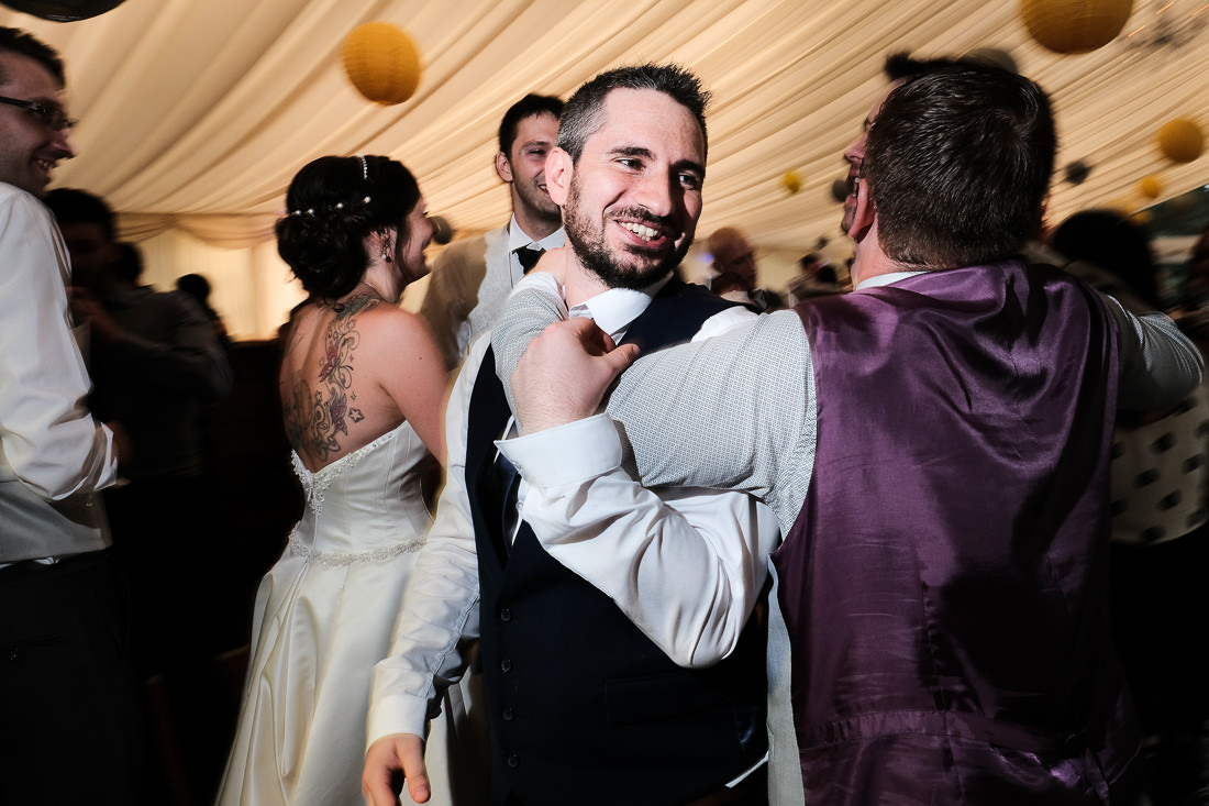 guests dancing at reception disco