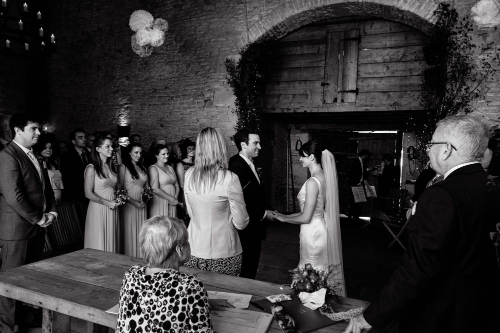 wedding in black and white with bride and groom at cripps