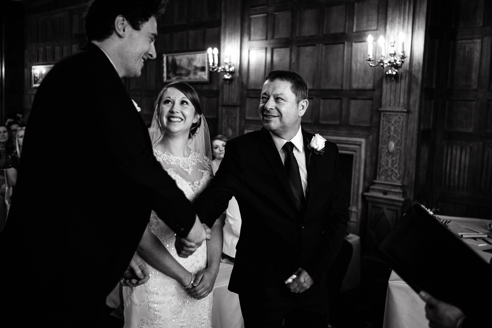wedding photography at ceremony in dumbleton hall