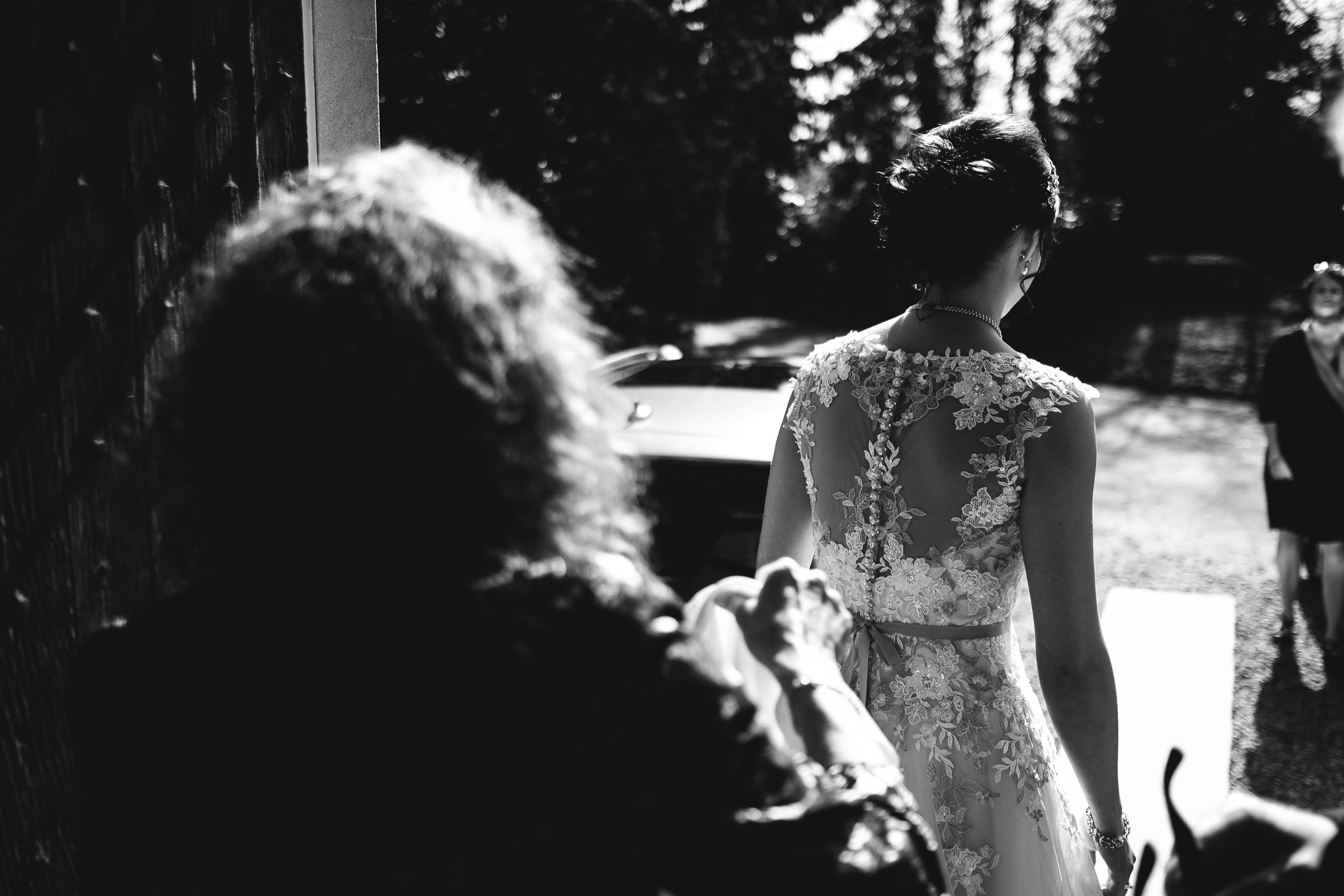 bride leaving bridal preparation