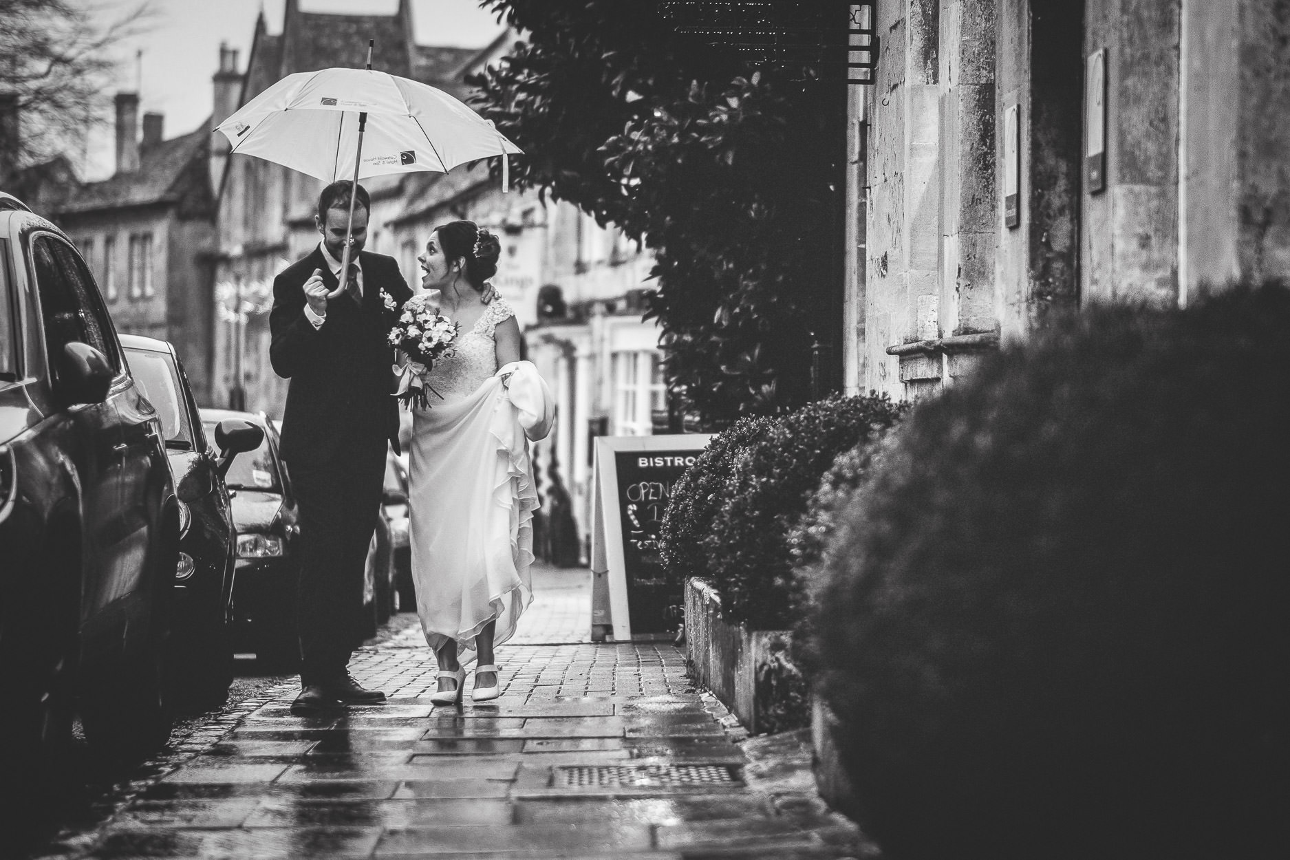 raining wedding photograph
