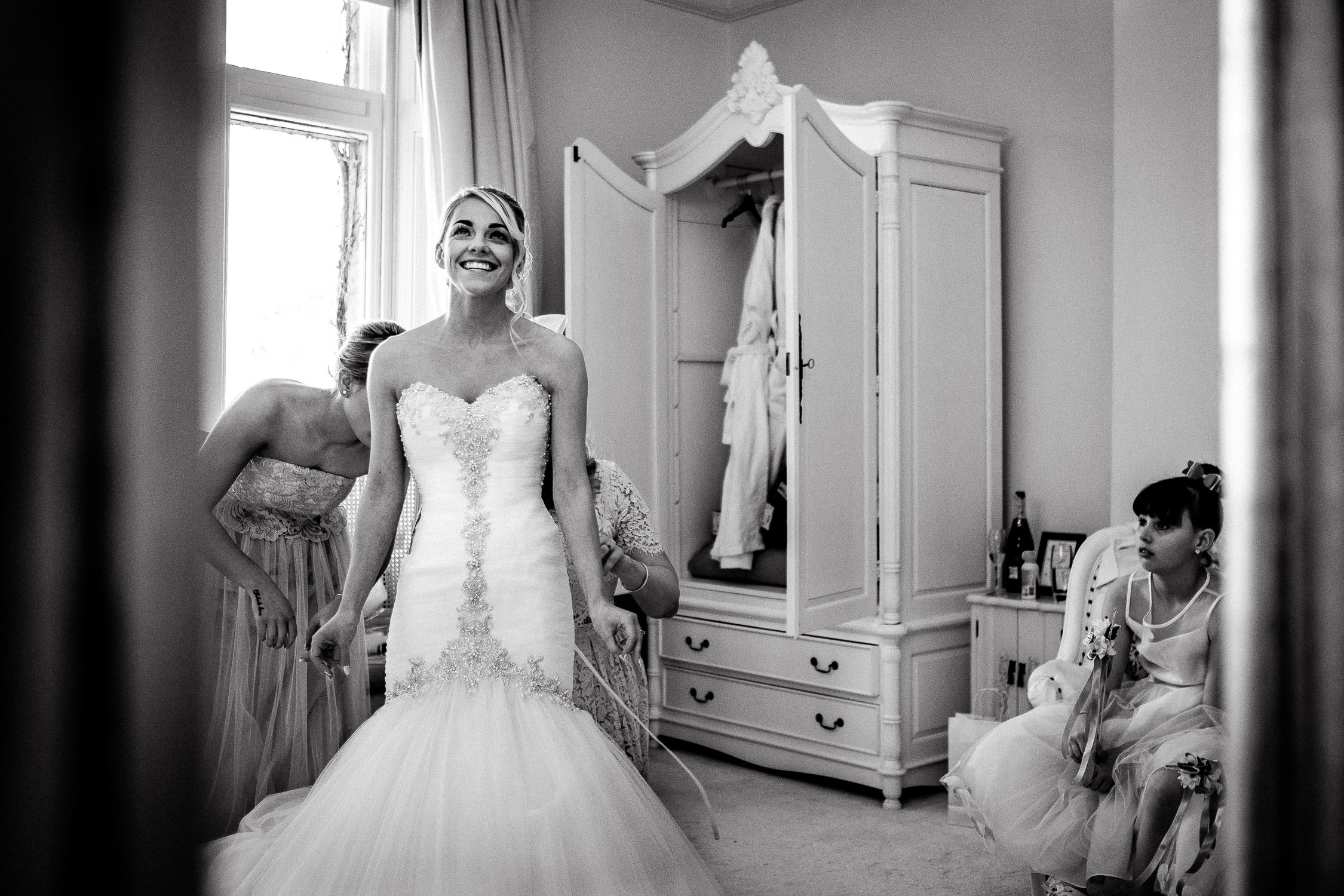 excited bride before ceremony