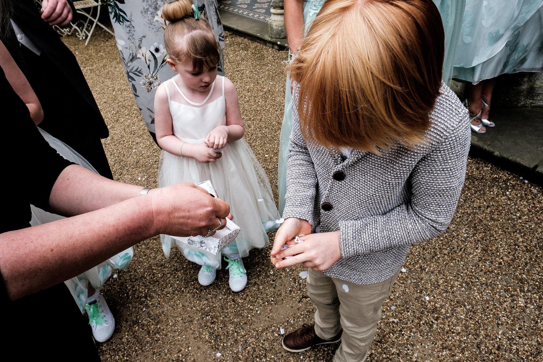 boy holding confetti