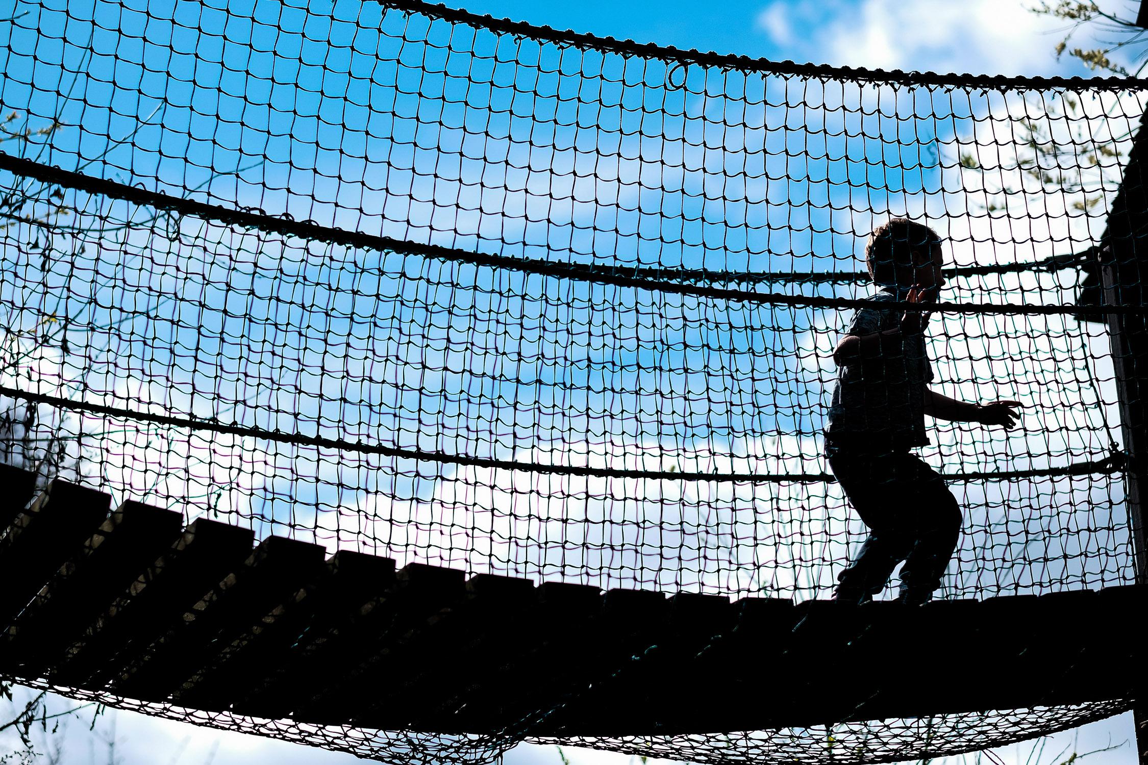 rope bridge at adventure playground