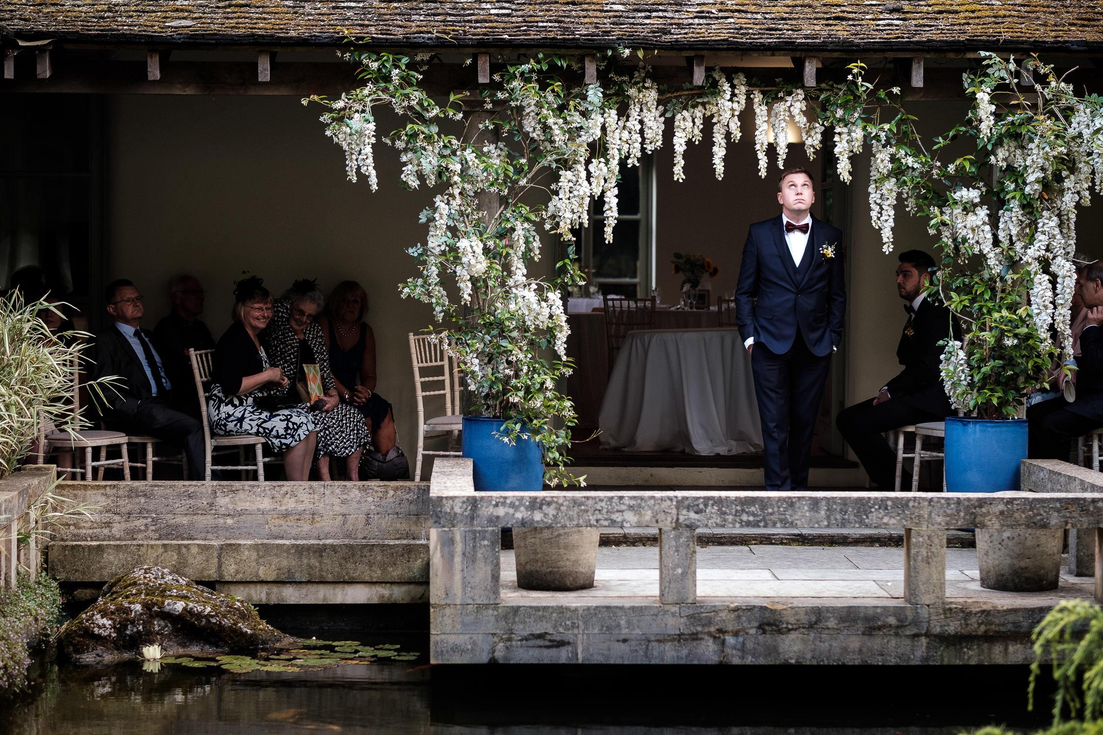 groom waiting nervously for bride