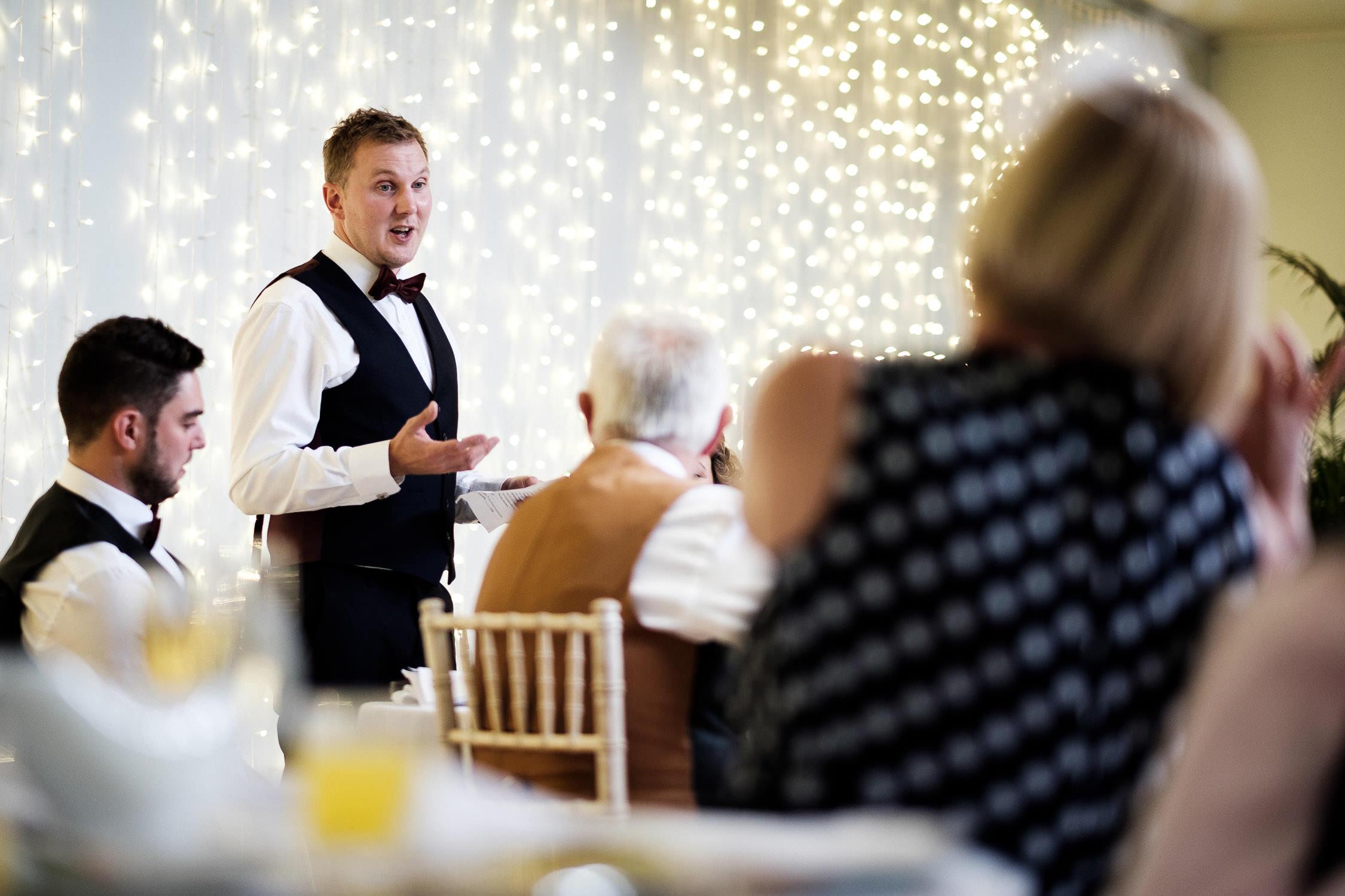 end of wedding breakfast groom gives speech