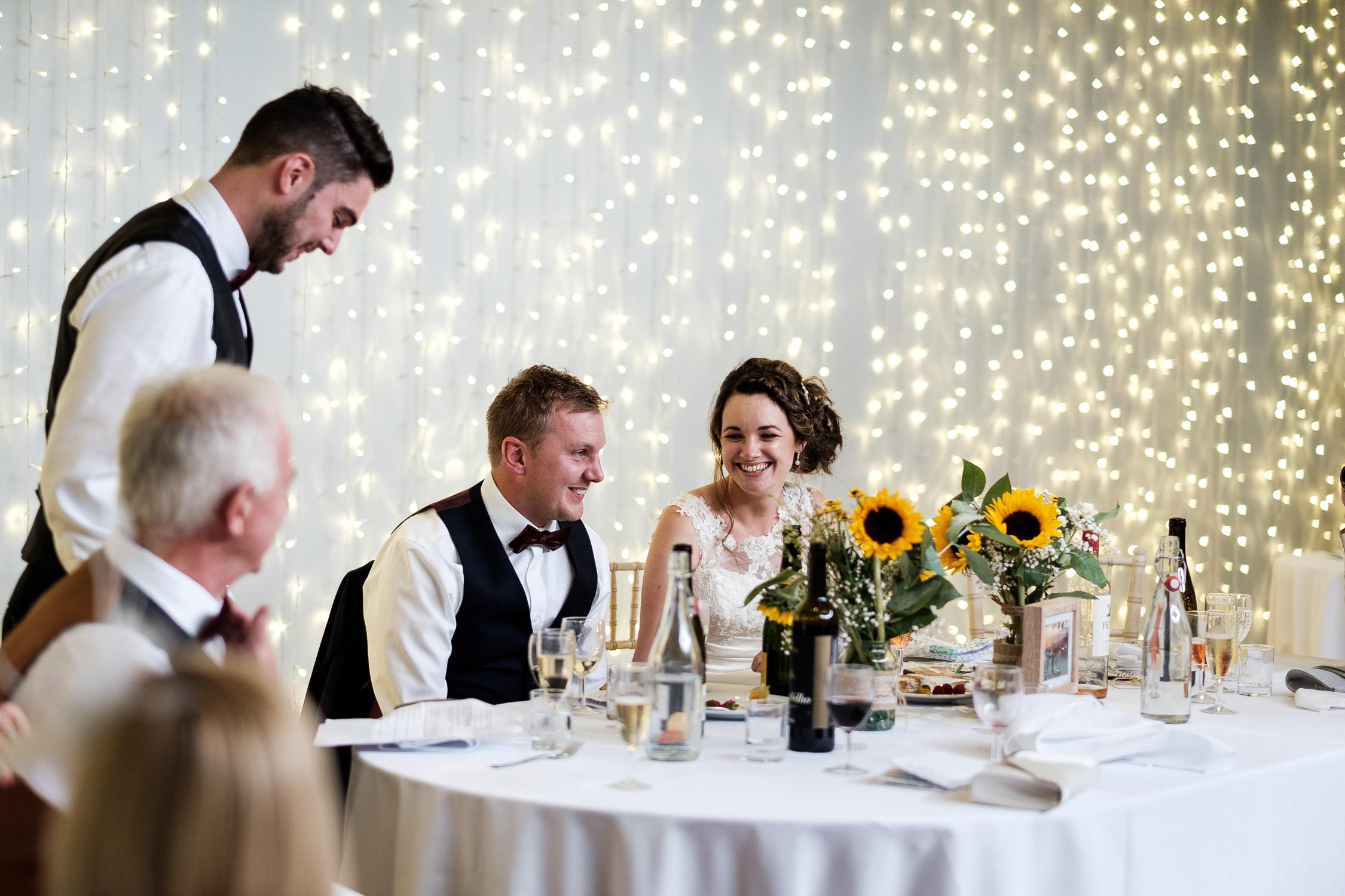 wedding couple looking at each other in speeches