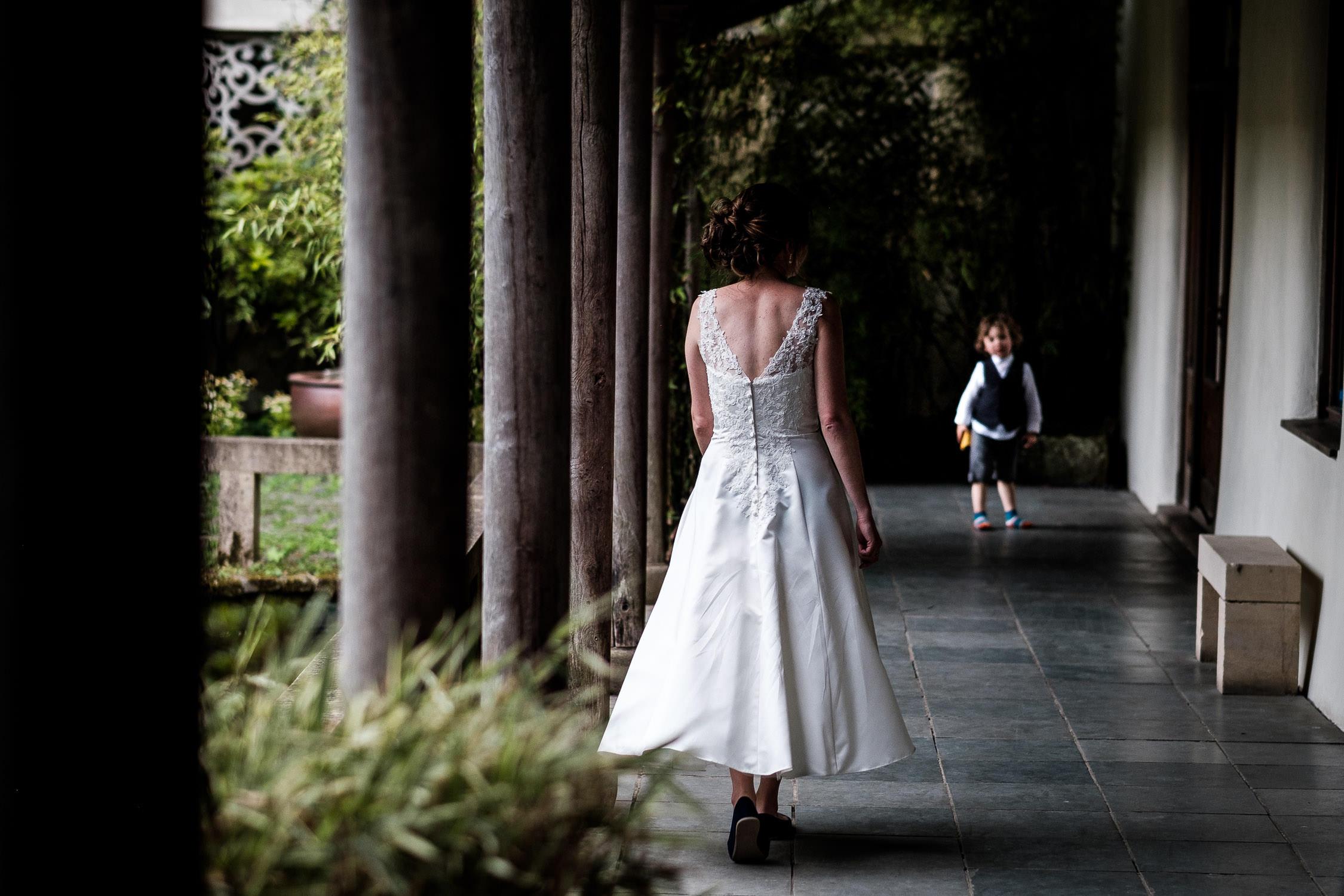 matara centre bride walking towards son