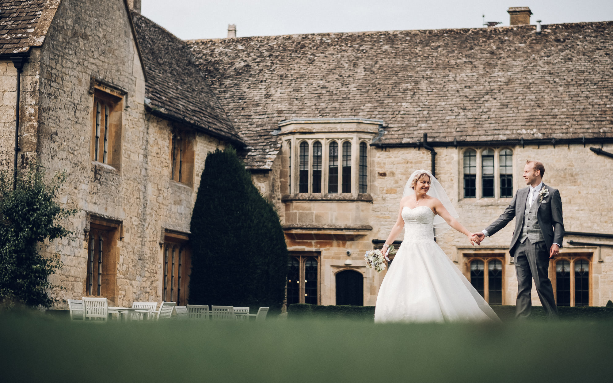 bride and groom at ellenborough park cheltenham